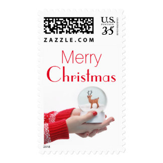 Christmas snowball in hands stamp
