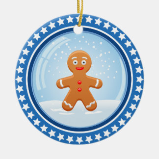 Christmas Snowball with Cute Gingerbread Man Double-Sided Ceramic Round Christmas Ornament