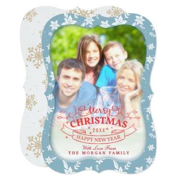 McTiffany Tiffany Aqua Christmas Snowflake Botanical Happy Holiday Photo Card