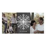 Christmas Snowflake Chalkboard Two Photos Photo Card
