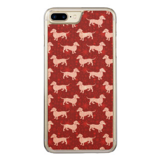 Christmas Snowflake Dachshunds Red Carved iPhone 7 Plus Case