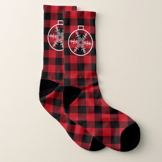 Christmas snowflake lumberjack pattern socks