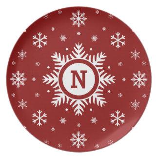 Christmas Snowflake Monogram Plate - red & white