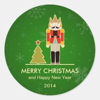 Christmas Snowflake - Nutcracker Holiday Greeting Classic Round Sticker