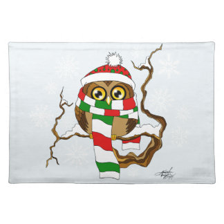Christmas Snowflake Owl Cloth Placemat