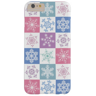 Christmas Snowflake Pastel Country Gingham Design Barely There iPhone 6 Plus Case