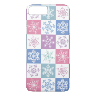 Christmas Snowflake Pastel Country Gingham Design iPhone 8 Plus/7 Plus Case