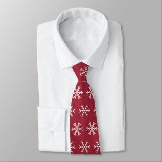 Christmas Snowflake Pattern on Burgundy 2 Sided Neck Tie