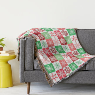 Christmas Snowflake Pink and Green Retro Pattern Throw Blanket