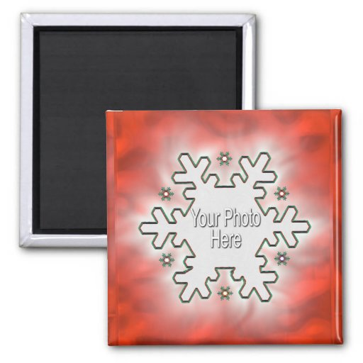 Christmas Snowflake Red (photo frame) Refrigerator Magnets