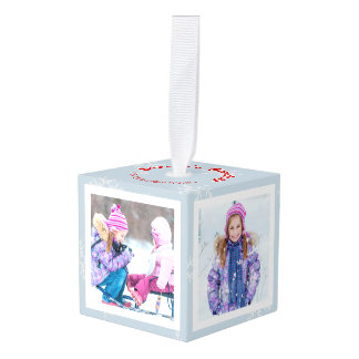 Christmas Snowflake Season's Greetings Photo Cube Cube Ornament