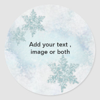 Christmas Snowflake snow photo frame template Classic Round Sticker