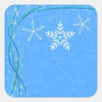 Christmas Snowflake Stars Square Sticker