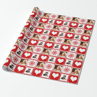 Christmas Snowflakes and Hearts 2 Family Photo Wrapping Paper