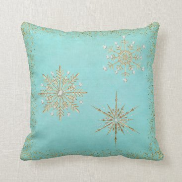 Christmas Themed Christmas Snowflakes Aqua & Gold Glitter Throw Pillow