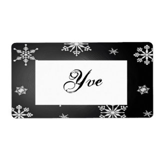 Christmas Snowflakes Black And Grey Template I Shipping Labels