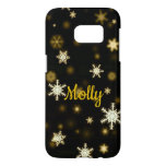 Christmas Snowflakes Black Gold Gift Custom Name Samsung Galaxy S7 Case