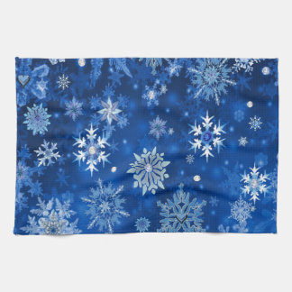 Christmas Snowflakes Blue and Silver Hand Towel