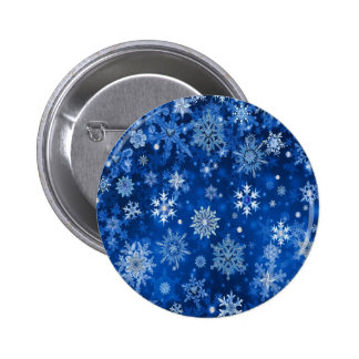 Christmas Snowflakes Blue and Silver Pinback Button