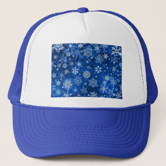 Christmas Snowflakes Blue and Silver Trucker Hat