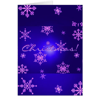 Christmas Snowflakes Blue In English Greeting Card