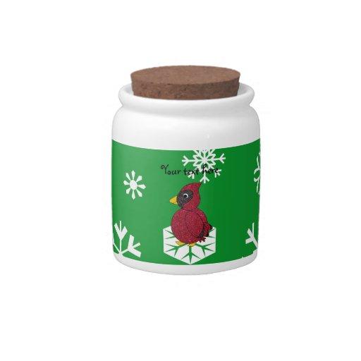 Christmas snowflakes cardinal candy jars