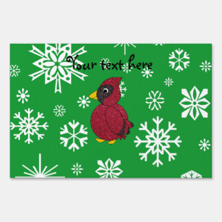 Christmas snowflakes cardinal yard sign