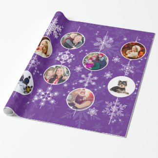 Christmas Snowflakes Favorite Family Photos Purple Gift Wrapping Paper
