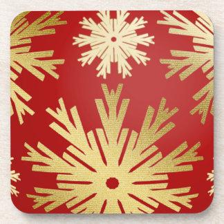 Christmas Snowflakes Festive Gold Red coasters