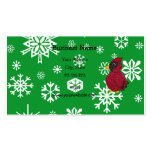 Christmas snowflakes glitter cardinal business card