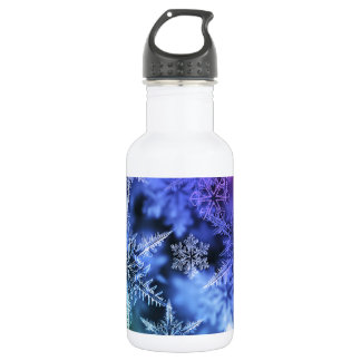 Christmas snowflakes glittery stainless steel water bottle
