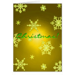 Christmas Snowflakes Gold In English I Greeting Card