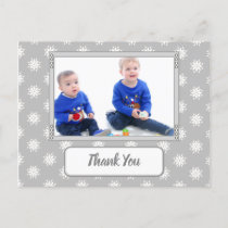 Christmas snowflakes gray thanks for gifts photo announcement postcard