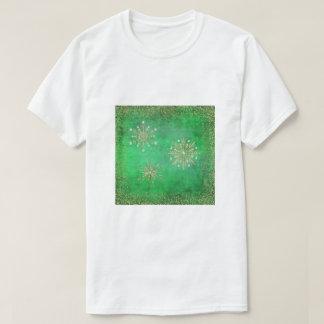 Christmas Snowflakes Green & Gold Glitter T-Shirt
