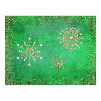 Christmas Snowflakes Green & Gold Postcard