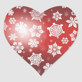 Christmas Snowflakes Heart Sticker