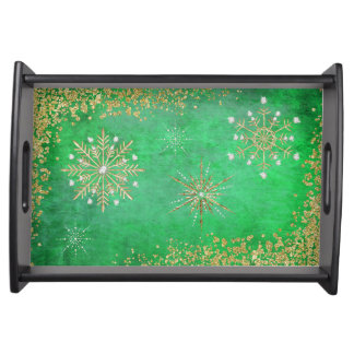 Christmas Snowflakes in Green & Gold Serving Tray