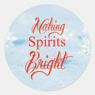 Christmas Snowflakes Making Spirits Bright Classic Round Sticker