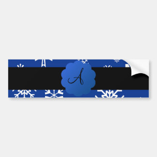Christmas snowflakes monogram bumper sticker