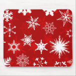 "Christmas snowflakes mousepad<br><div class=""desc"">Beautiful mousepad to decorate your desk for the holiday season. Red and white snowflakes on a red background.</div>"