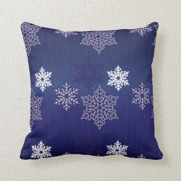 Christmas Themed Christmas Snowflakes on Navy Blue Throw Pillow