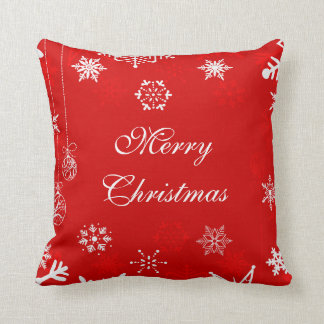 Christmas snowflakes on red decor throw pillow