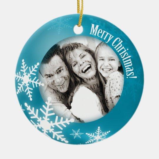 Christmas Snowflakes Photo Blue ornament