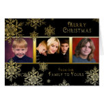 Christmas Snowflakes Photo Card - Black/Gold Greeting Cards