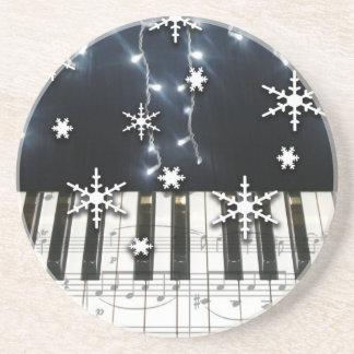 Christmas Snowflakes Piano Keyboard & Music Notes Coaster