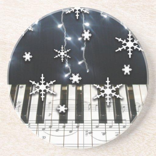 Christmas Snowflakes Piano Keyboard & Music Notes Drink Coaster