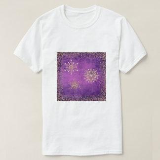 Christmas Snowflakes Purple & Gold Glitter T-Shirt