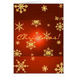 Christmas Snowflakes Red In English Card