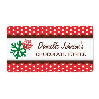 Christmas snowflakes red polka dot canning jar label