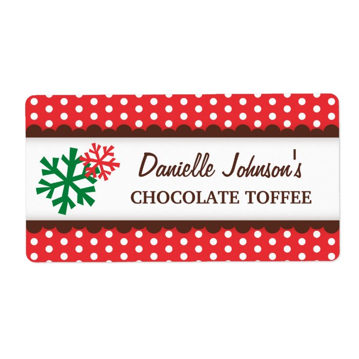 Christmas snowflakes red polka dot canning jar label